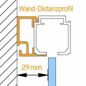 Laufschiene für Glasschiebetür inklusive Wanddistanzprofil